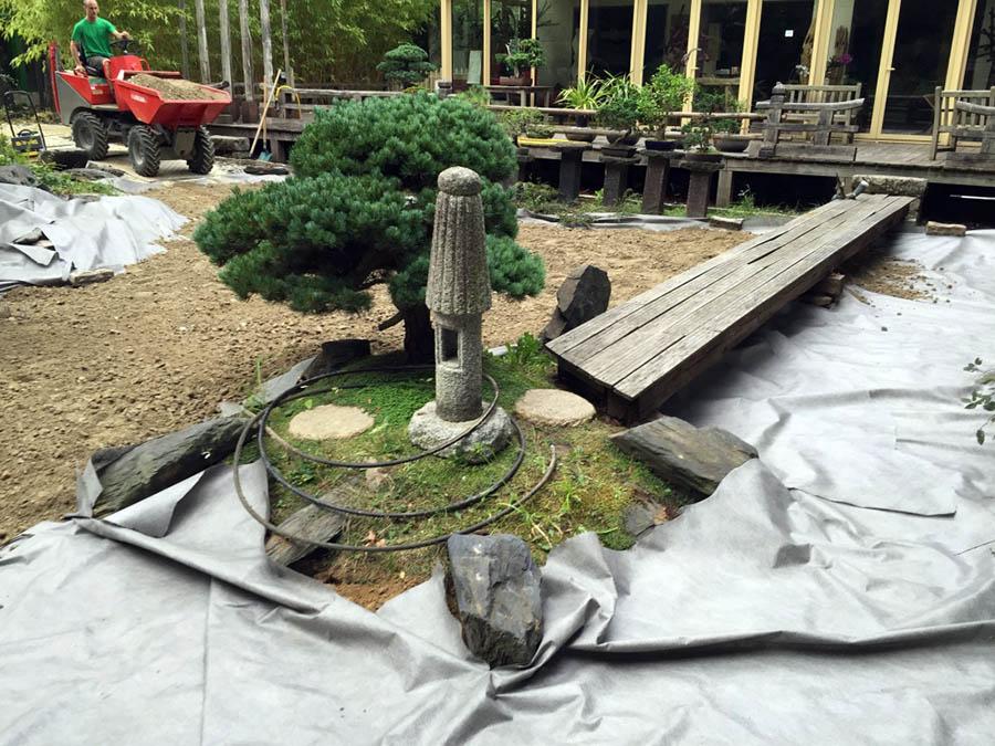 Préparation du sol, et acheminement des matériaux