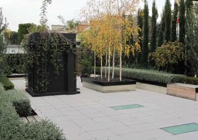 Aménagement paysager d'une terrasse