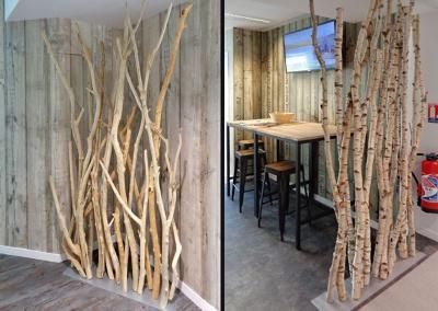 Décoration des espaces détentes, tableau végétal et bois flottés