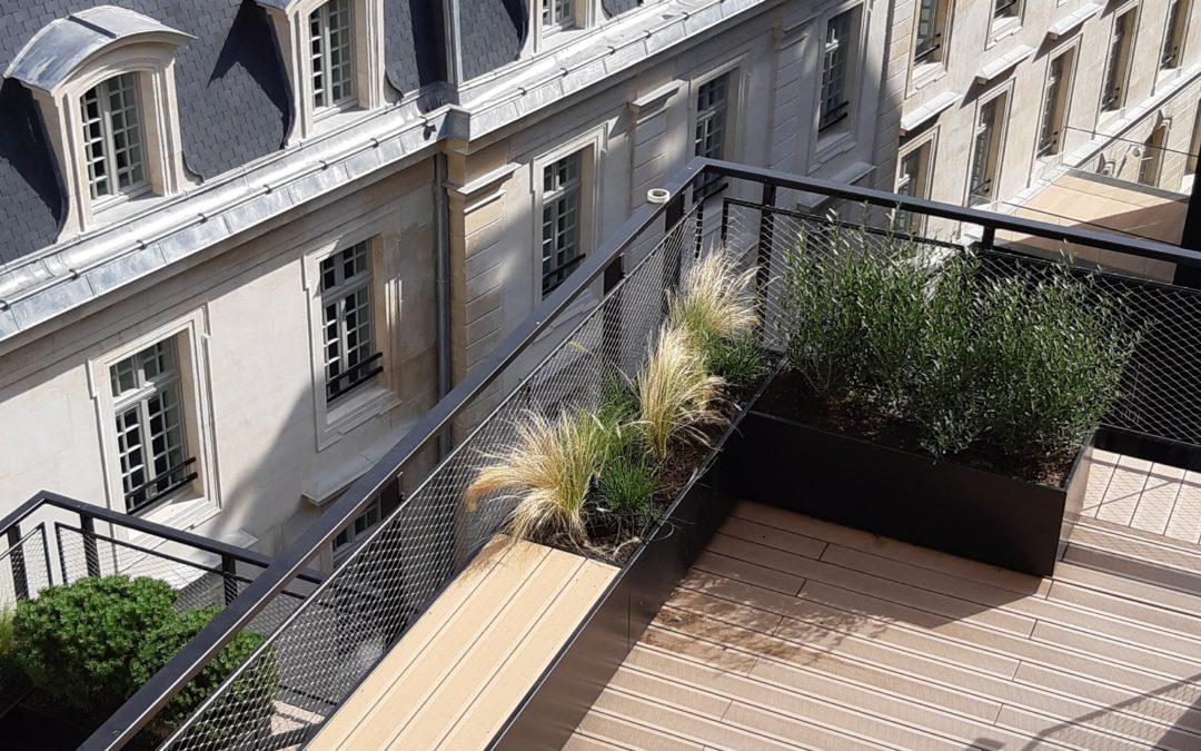 Réalisation d'un jardin RDC et terrasses pour un immeuble de bureaux / 75008 PARIS